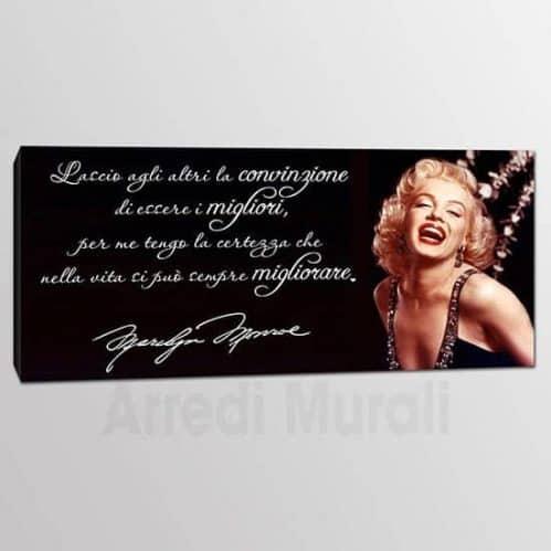 Quadro frase Marilyn Monroe con citazione e volto
