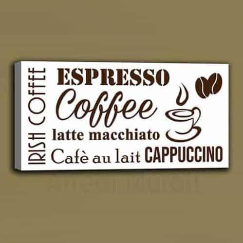 Quadro moderno coffee bar rettangolare sfondo bianco scritte marroni