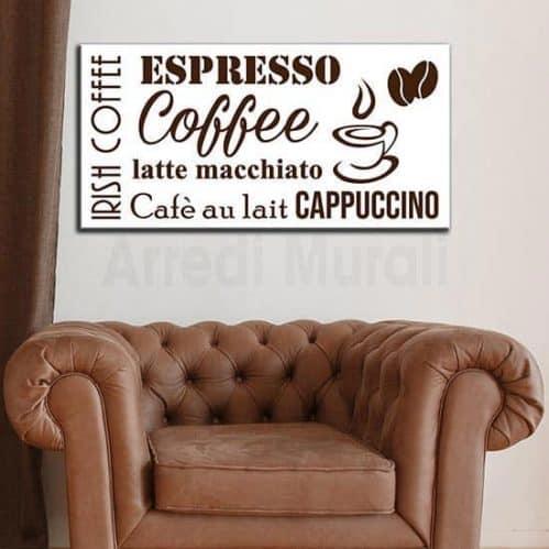 Quadro moderno coffee bar con sfondo bianco scritte marroni disposizione rettangolare