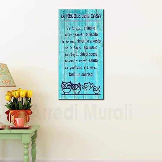 Quadro moderno su tela con frase anche per arredo shabby chic con regole della casa