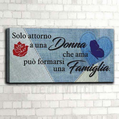 Quadro su tela famiglia con frase e stampa su tela