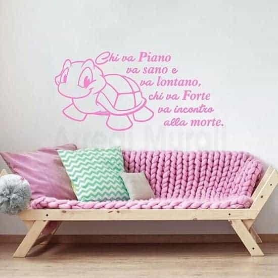 Scritte adesive per pareti proverbio colore rosa