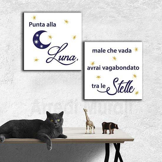 Stampe su tela cameretta bambini 2 quadri con scritte