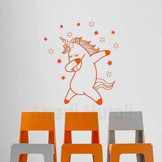 Stickers murali bambini con unicorno arancione