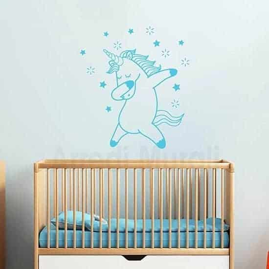 Stickers murali bambini con unicorno celeste