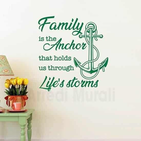 Stickers murali famiglia con frase verde