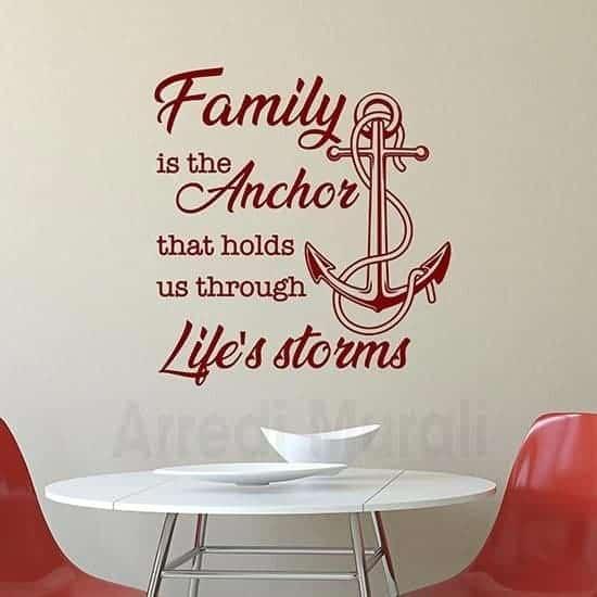 Stickers murali famiglia con frase rosso