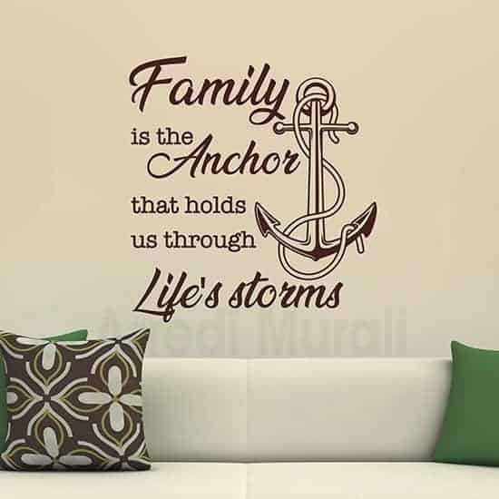Stickers murali famiglia con frase marrone