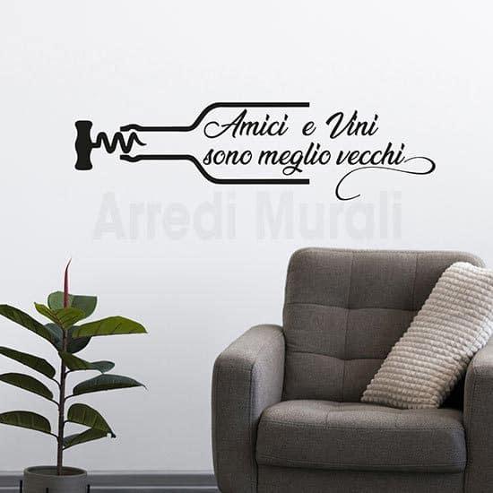 Stickers murali proverbio sul vino e gli amici nero