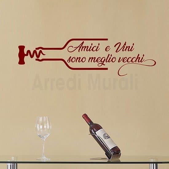 Stickers murali proverbio sul vino e gli amici rosso