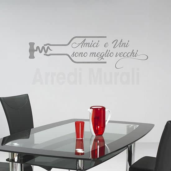 Stickers murali proverbio sul vino e gli amici argento