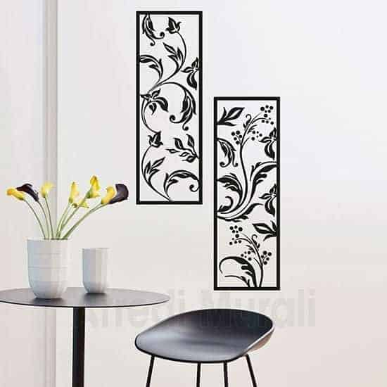 Stickers murali quadri floreali nero