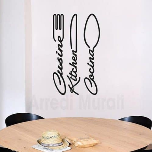 Wall stickers cucina con posate nero