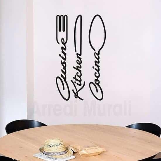 Wall stickers cucina con posate nero