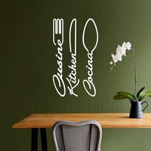 Wall stickers cucina con posate bianco