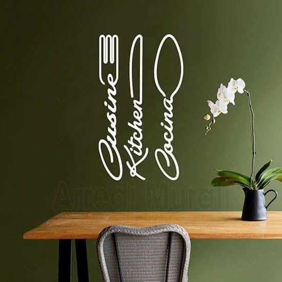 Wall stickers cucina con posate bianco