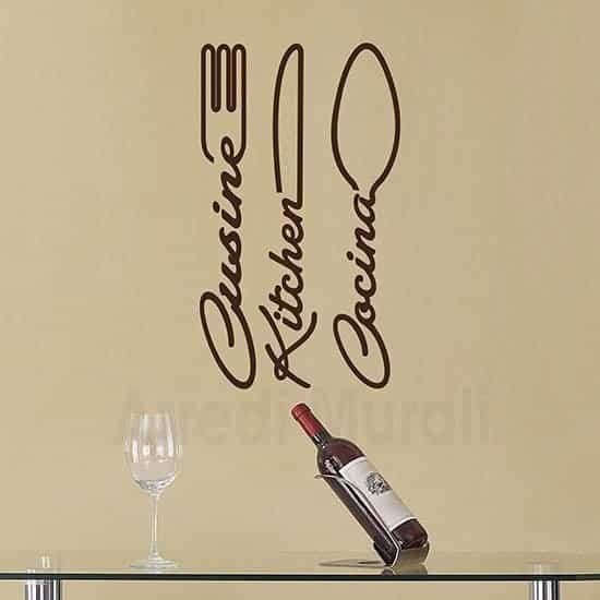 Wall stickers cucina con posate marrone