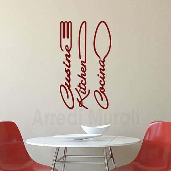 Wall stickers cucina con posate rosso