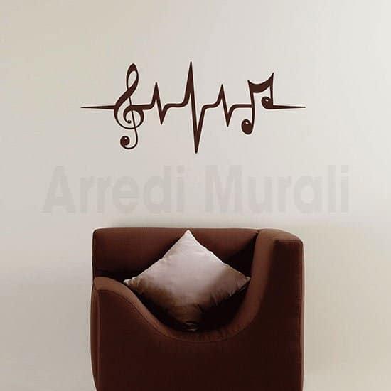 Adesivo da parete con note musicali marrone