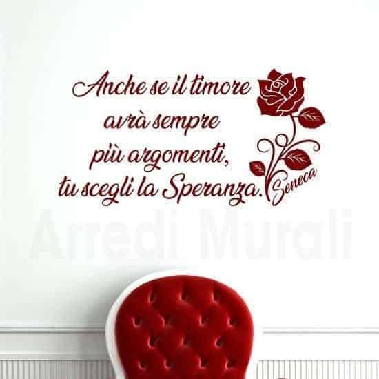 Decorazioni pareti con frase scritta adesiva Seneca rosso