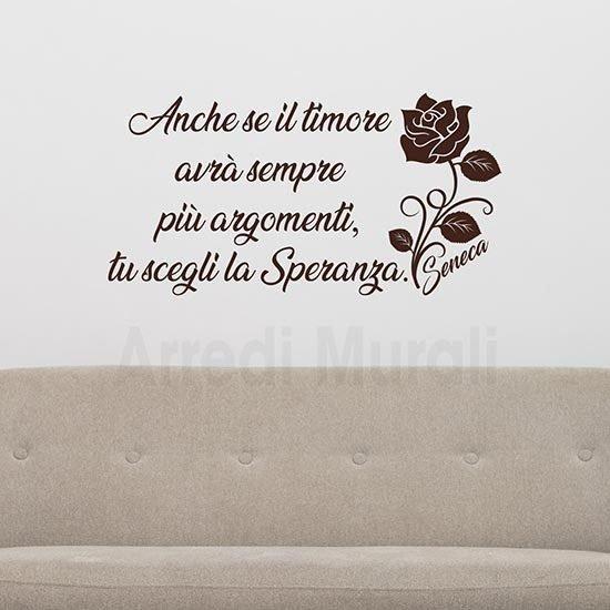 Decorazioni pareti con frase scritta adesiva Seneca marrone