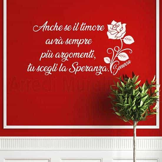 Decorazioni pareti con frase scritta adesiva Seneca bianco