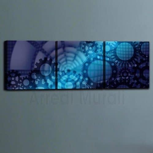 3 Quadri su tela astratti tonalità blu