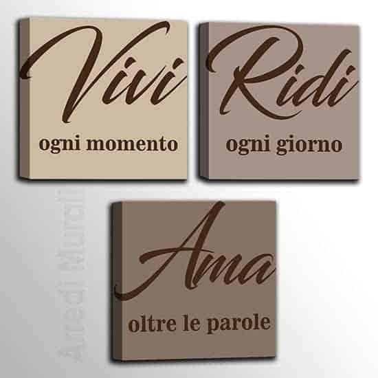3 quadretti con scritte Vivi, Ridi, Ama con stampa su tela