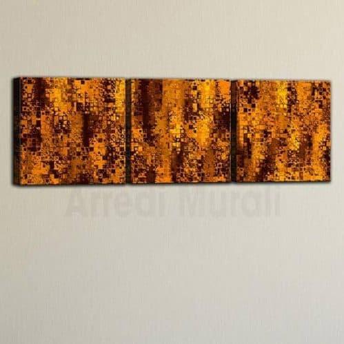 3 quadri moderni astratti nelle tonalità dell'arancione