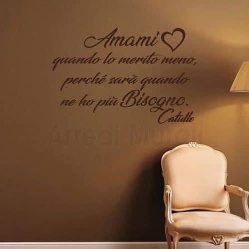 Adesivi da parete con frase d'amore marrone