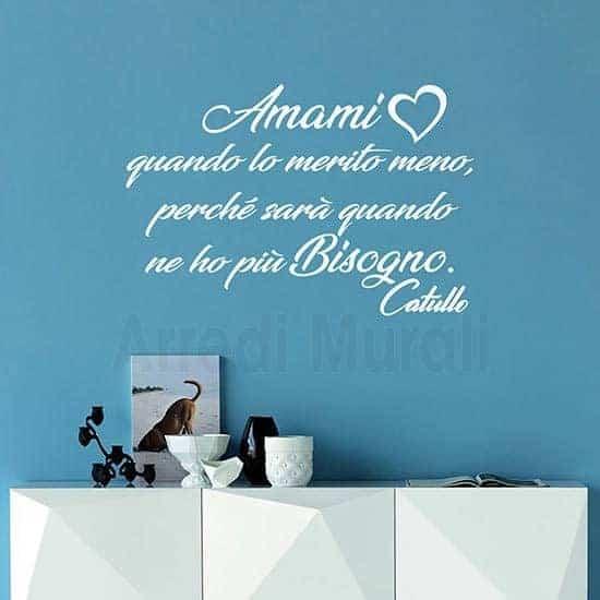 Adesivi da parete con frase d'amore bianco
