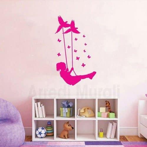 Adesivi murali bimba rosa