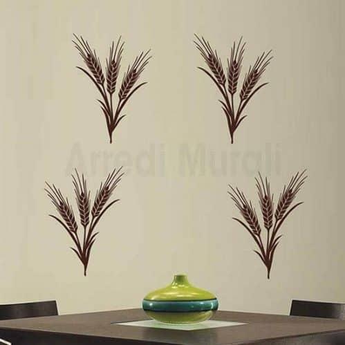 Adesivi murali spighe di grano marroni