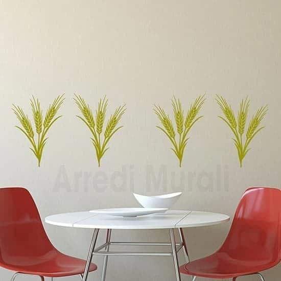 Adesivi murali spighe di grano oro