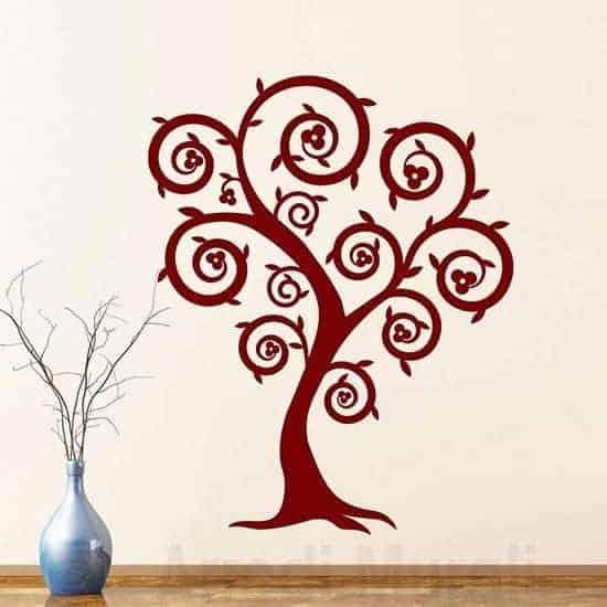Decorazioni murali con albero stilizzato bordeaux