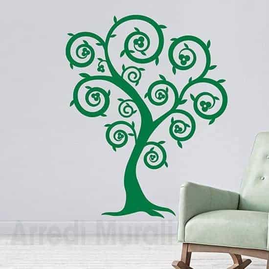 Decorazioni murali con albero stilizzato verde