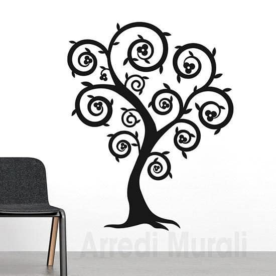 Decorazioni murali con albero stilizzato nero