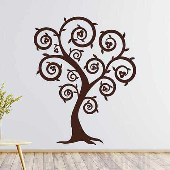 Decorazioni murali con albero stilizzato marrone