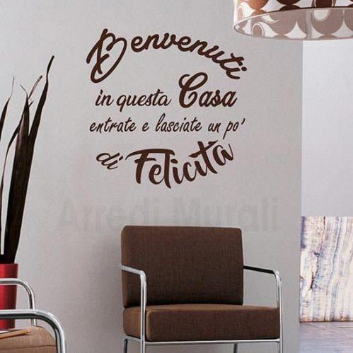 Decorazioni per pareti con scritta adesiva marrone