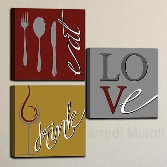 Quadri cucina tris di tele moderne con scritte drink eat love