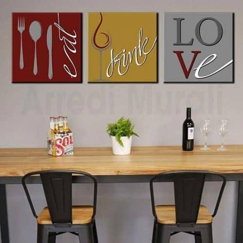 Quadri cucina tris di tele moderne con scritte