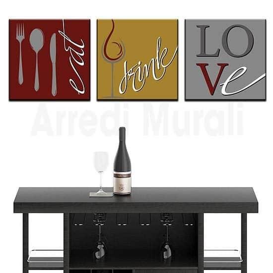 Quadri cucina tris di tele moderne tele con scritte