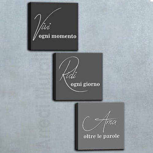 Quadri moderni su tela con frasi 3 quadri stampa su tela nella tonalità grigia