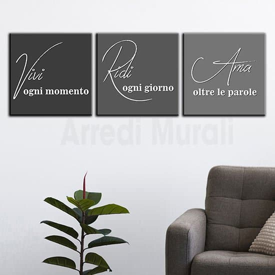 Quadri moderni su tela con frasi grigio