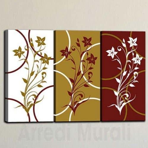 Quadri su tela floreali arte digitale 3 tele