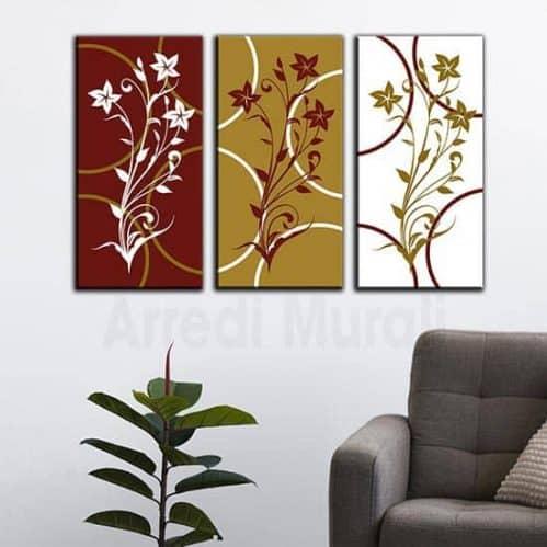 Quadri su tela floreali 3 tele in arte digitale