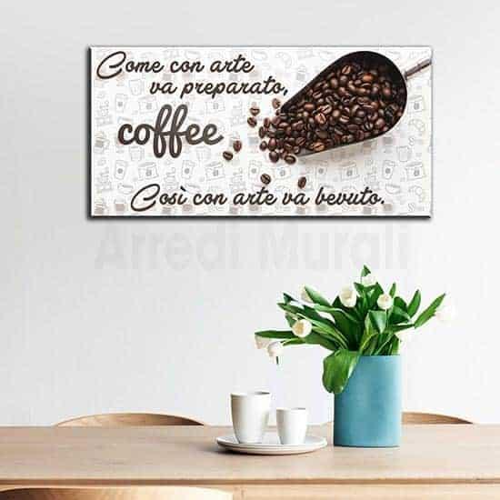 Quadro moderno caffè su tela con frase per arredo bar o cucina