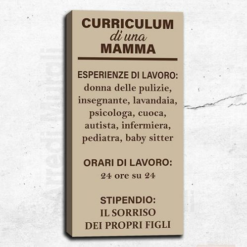 Quadro moderno con curriculum di una mamma 1 tela