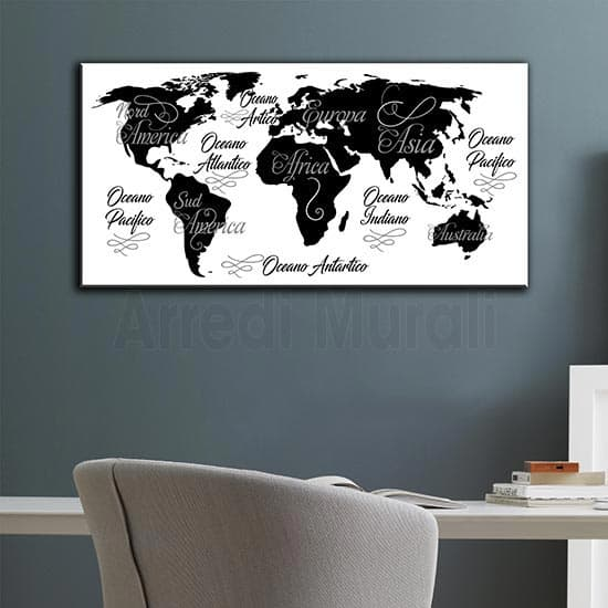 Quadro moderno planisfero stampa su tela nei colori bianco e nero