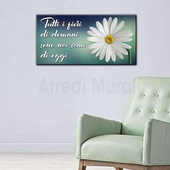 Quadro stampa su tela con frase e fiore bianco con sfondo verde